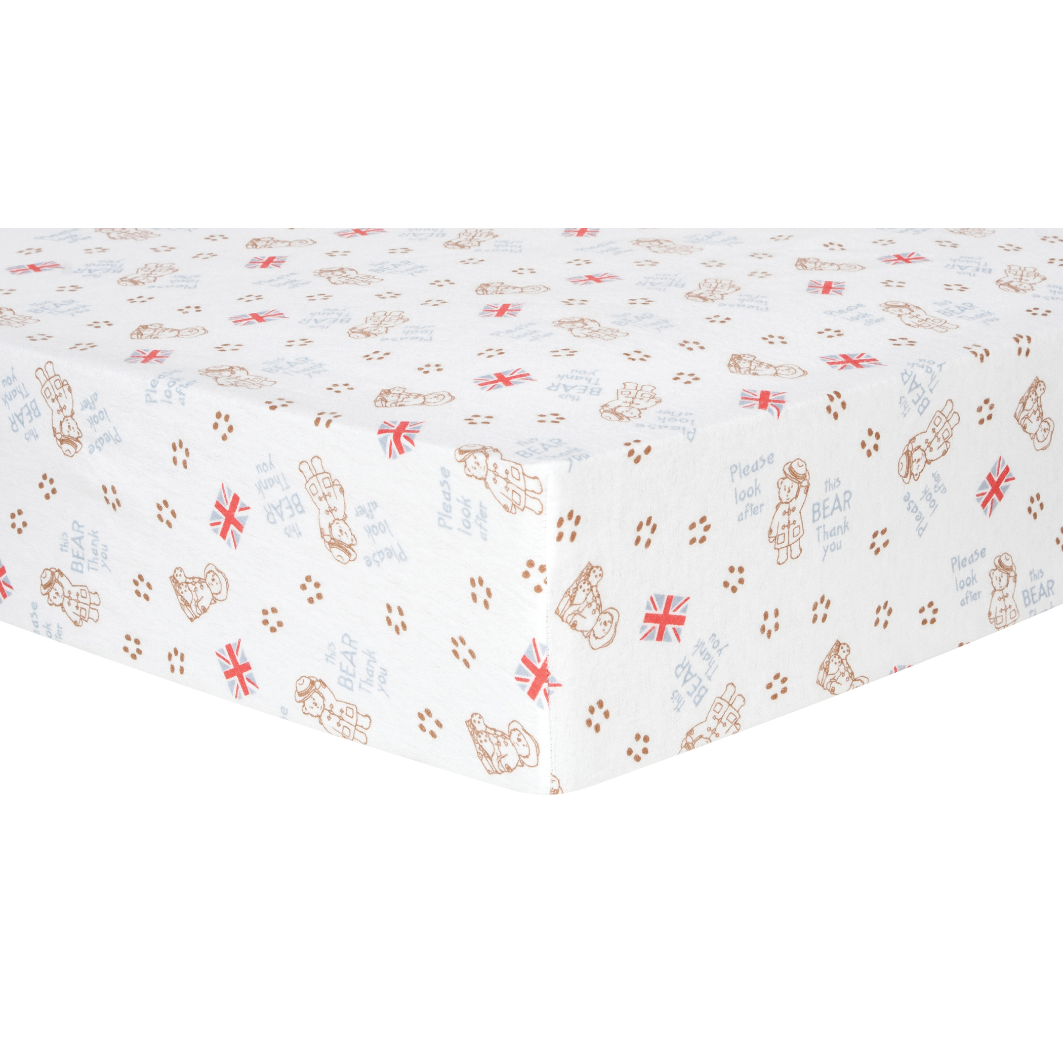 Paddington Bear Deluxe Flannel Fitted Crib Sheet