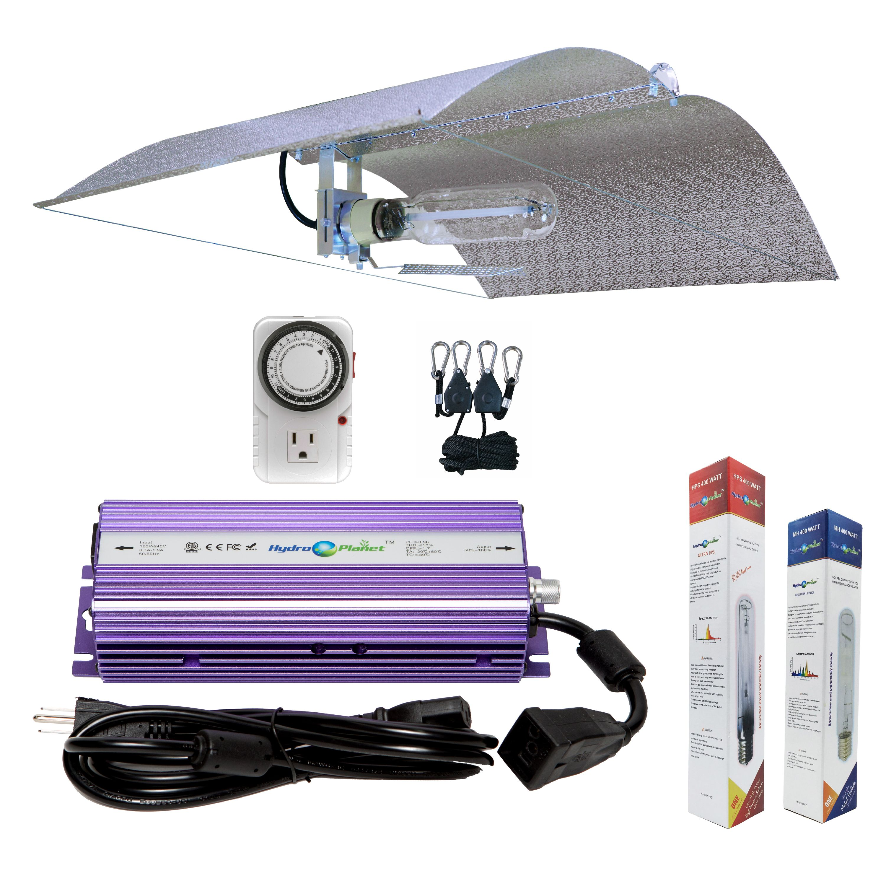 Hydroplanet™ 400w Digital Ballast Dimmable HPS Mh Grow Light System for Plant with Adjustable Wing Reflector