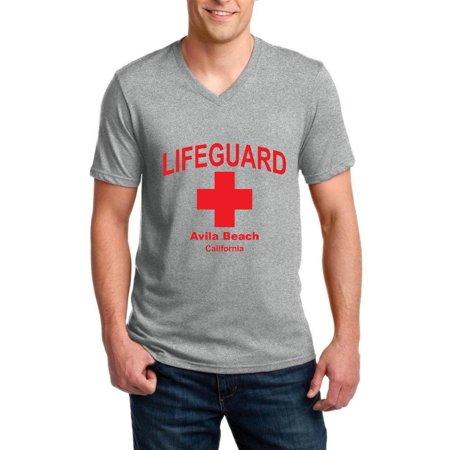 8777489767 LifeGuard Avila Beach Lifeguards Red Style w Lifeguard Swimsuit Whistle  Tube Shorts Ringspun Men V-Neck T-Shirt - Walmart.com