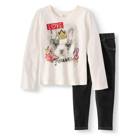 Girls' Long Sleeve Graphic Tee and Knit Denim Jeggings, 2-Piece Outfit Set