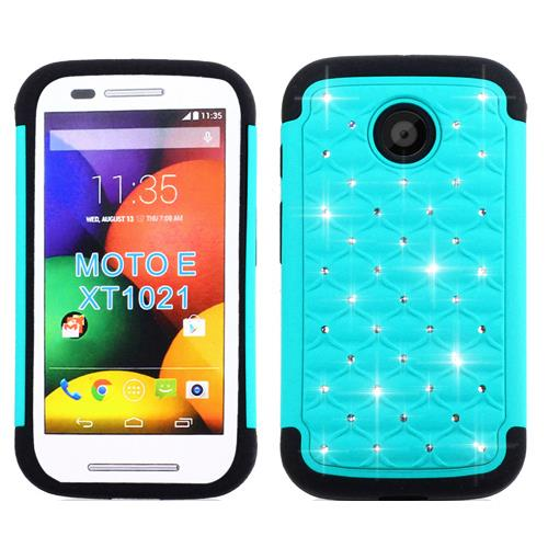 Phone Case For Straight Talk Moto E 3G XT830 ( Tracfone ) Dual Layered Crystal Cover ( Crystal Teal-Black Silicone )