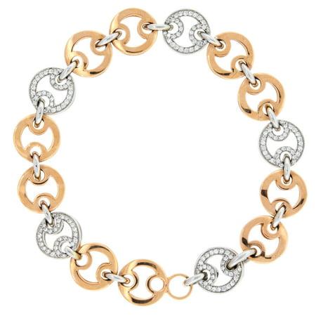 Ladies Diamond Link Bracelet by Roberto Coin Pave Set Diamonds