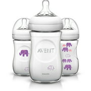 Philips Avent BPA-Free Natural Elephant Baby Bottles, 9 Ounce, 3 Pack (Choose Your Color)
