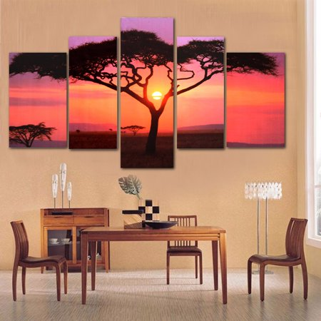 - M.Way 5Pcs Frameless Canvas Prints Pictures Sunset Tree Modern Unframed Painting Home Decor Wall Art Sticker (Larger than 36*35.5inch)