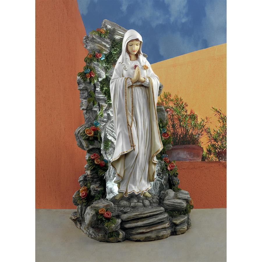 Design Toscano Blessed Virgin Mary Illuminated Garden Grotto Sculpture