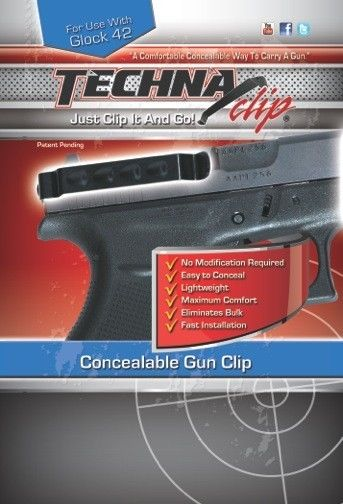 Techna Clip Belt Clip, Fits Glock 42, Ambidextrous, Black G42BRL by Techna Clip