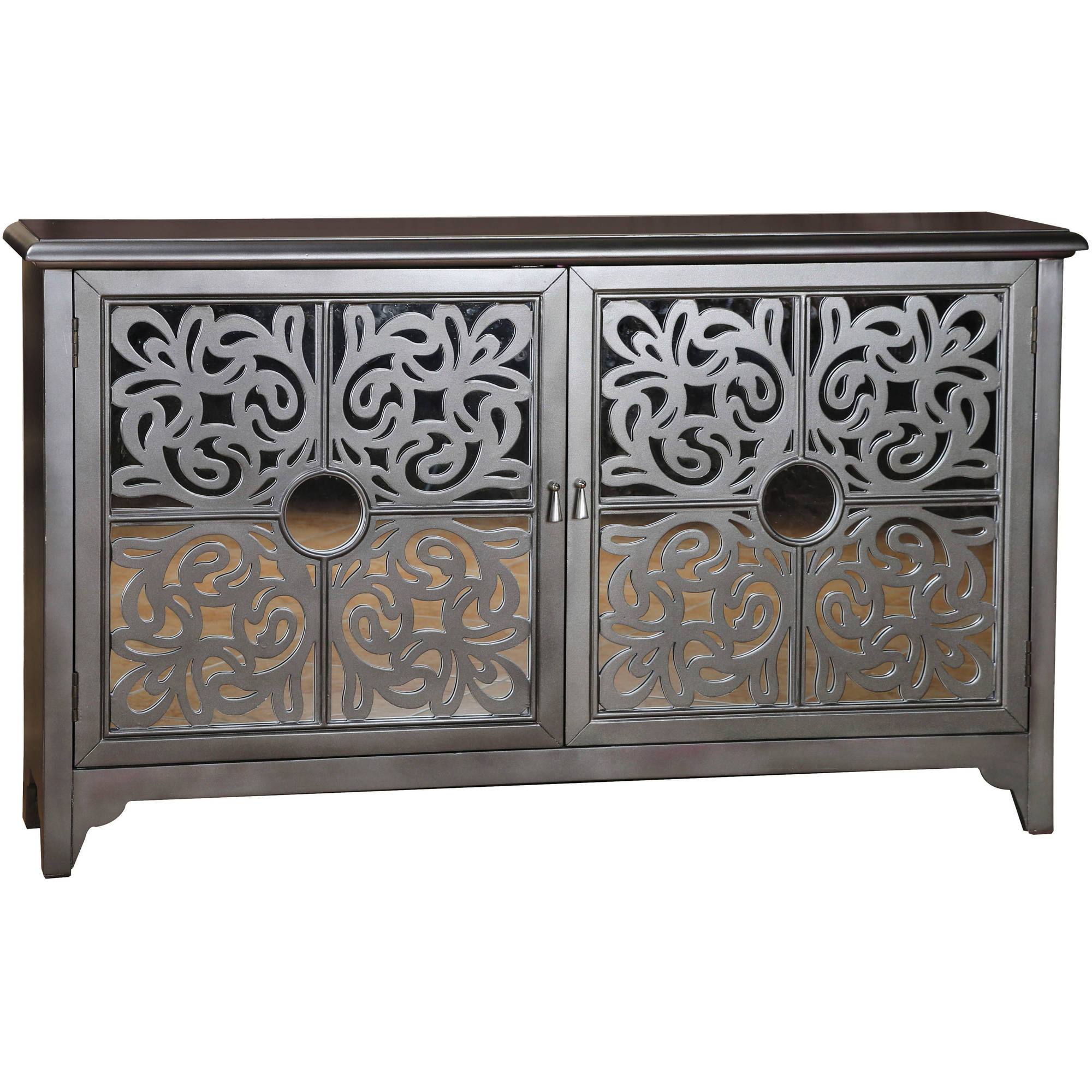 Silver Mirrored Overlay Door Credenza