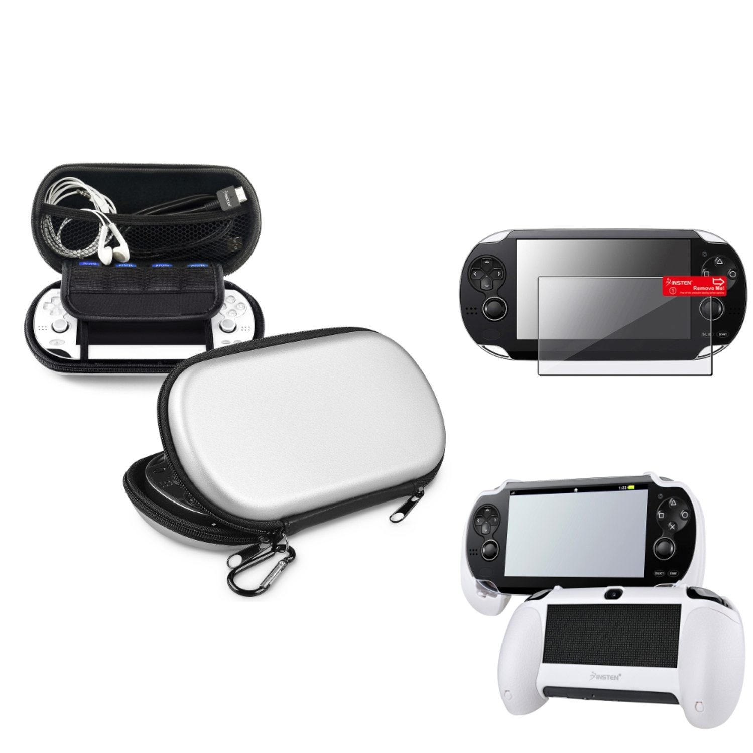 Insten Silver EVA Case+White Hand Grip+Clear Screen Protector For Sony PS Vita PSV