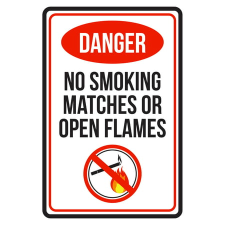 Match Com Commercial (Danger No Smoking Matches Or Open Flames Red, Black and White Business Commercial Safety Warning Large Sign, 12x18 )