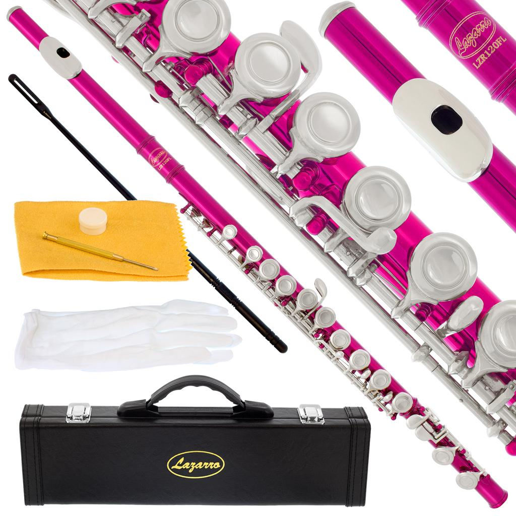 Lazarro 120-PK Professional Hot Pink-Silver Closed Hole C Flute with Case, Care Kit-Great for Band, Orchestra,Schools