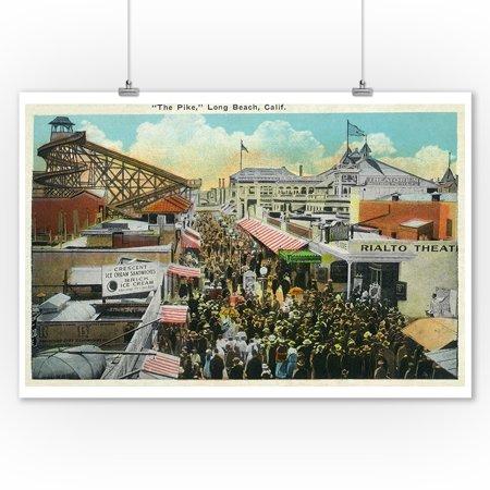 Long Beach, California - Crowds along the Pike (9x12 Art Print, Wall Decor Travel (The Pike In Long Beach California)