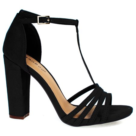 Limelight03m By Bamboo Black Open Toe Dress Sandal T Strap Ankle
