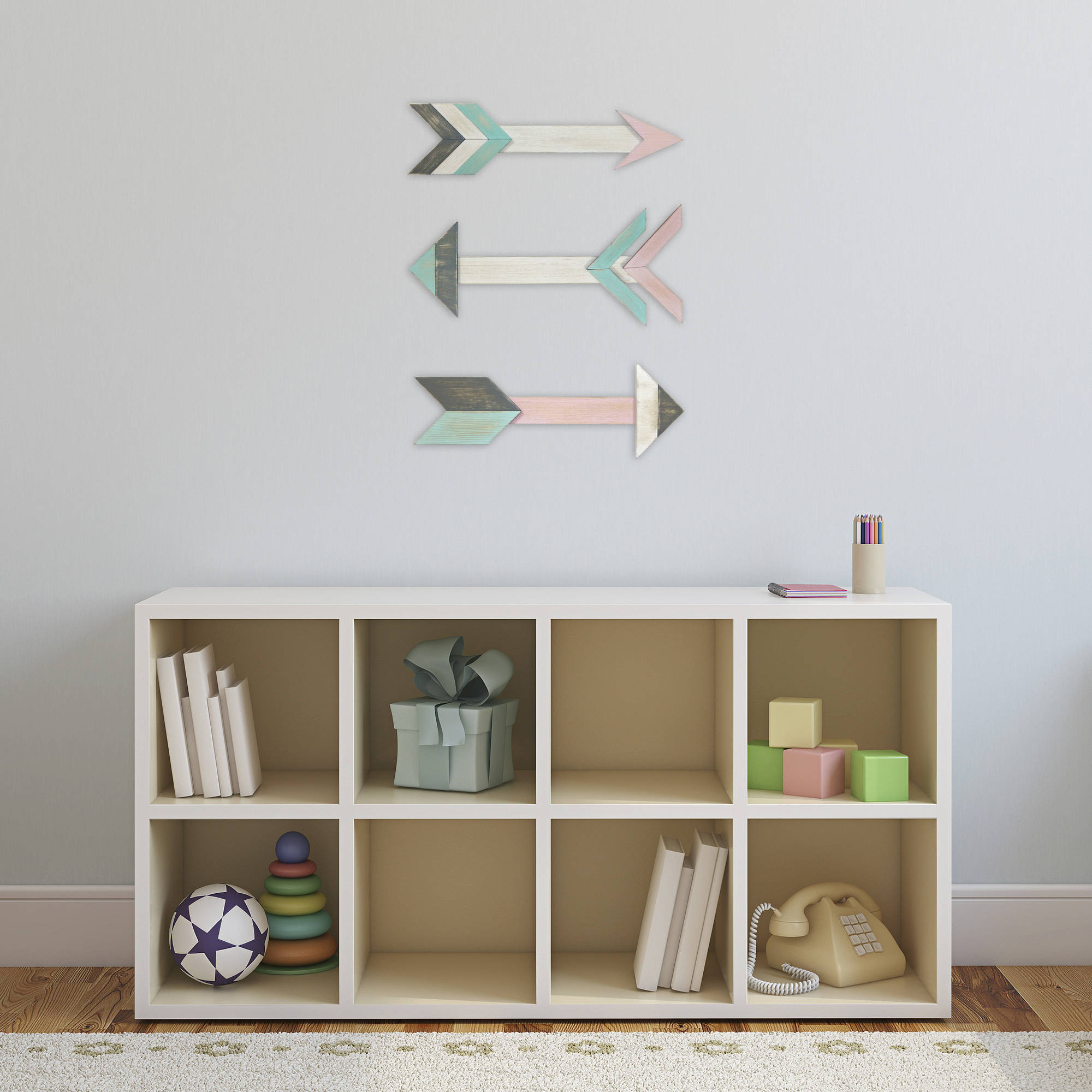 Better Homes and Gardens 3-Piece Wooden Arrow Wall Art Set, Pink and Aqua