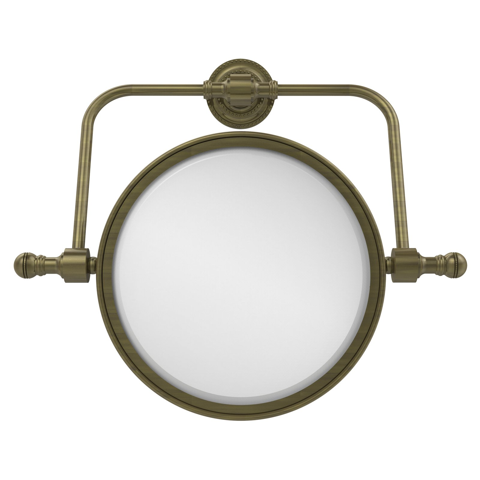 Retro Dot Collection Wall Mounted Swivel Make-Up Mirror 8 Inch Diameter with 3X Magnification