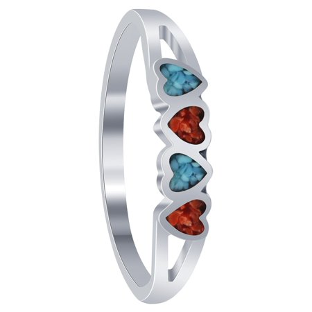 - Gem Avenue Heart Shape 925 Sterling Silver Turquoise & Coral Ring