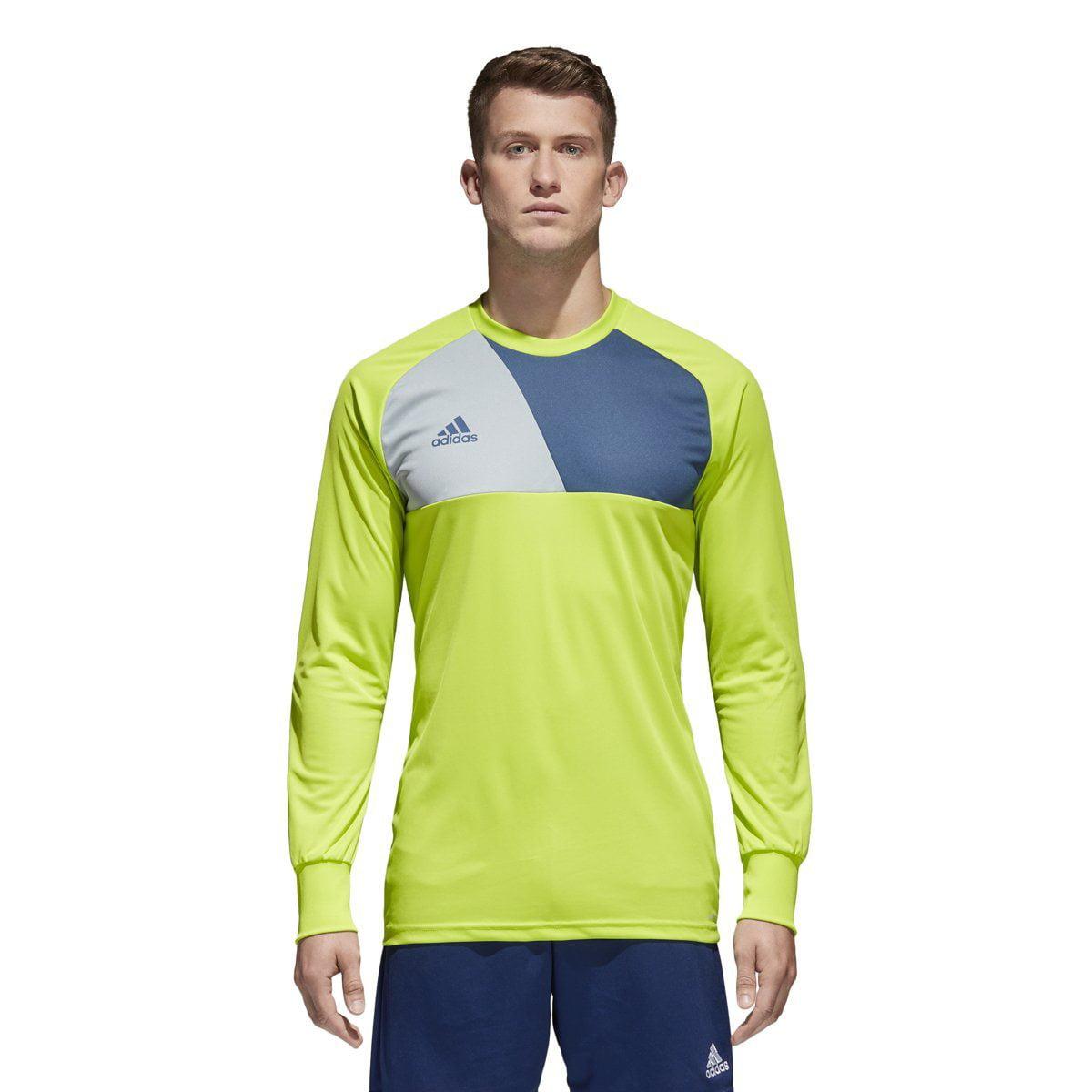 adidas men's soccer assita 17 goalkeeper jersey, solar slime/night marine/light grey, large