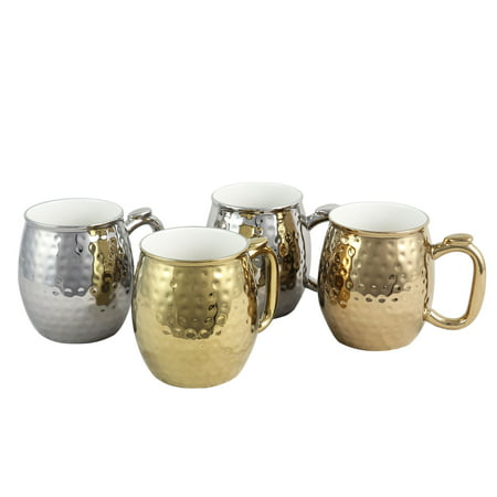 Gibson Home Glimmer 4 Piece 16 oz. Electroplated Cups in Gold and Silver - Oz In Cups