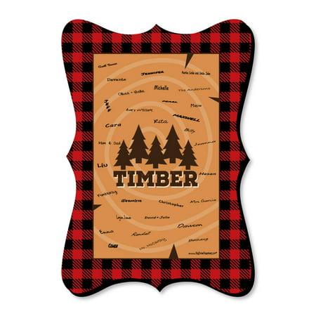 - Lumberjack - Channel The Flannel - Unique Alternative Guest Book - Buffalo Plaid Party Signature Mat