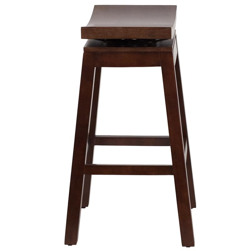 "Flash Furniture 30"" Saddle Seat Bar Stool in Light Cherry - image 1 of 4"