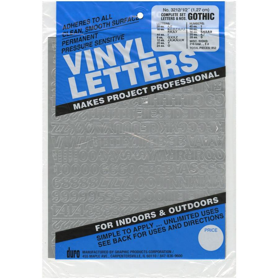 "Permanent Adhesive Vinyl Letters & Numbers .5"" 852pk, Silver"