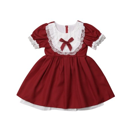 Christmas Toddler Kids Baby Girls Party Pageant Bridesmaid Lace Princess Formal Xmas Dress - Kid Christmas Dresses