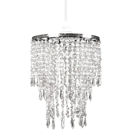 Tadpoles Faux Crystal Triple Layer Dangling Pendant Light Shade, Chandelier Style