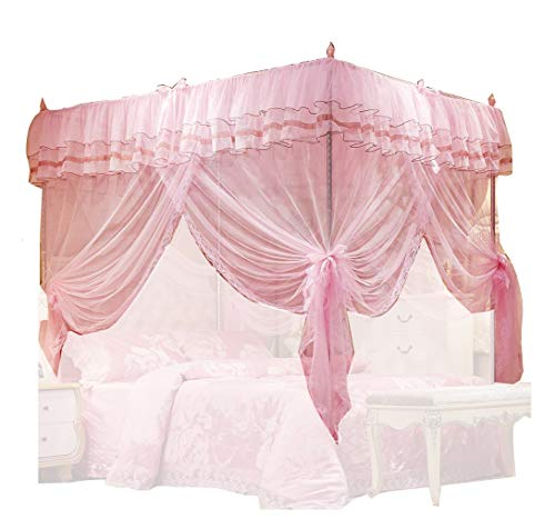 Uozzi Bedding 4 Corners Post Pink Canopy Bed Curtain For Girls Adults Cute Cozy Drape Square Netting For Twin Bed 4 Open Walmart Canada