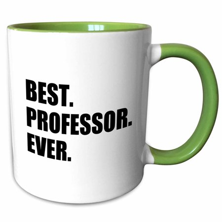 3dRose Best Professor Ever, gift for inspiring college university lecturers - Two Tone Green Mug,