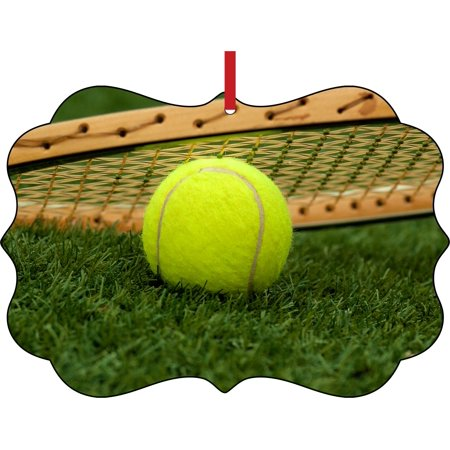 Tennis Ball and Racket in the Grass Double Sided Elegant Aluminum Glossy Christmas Ornament Tree Decoration - Unique Modern Novelty Tree Décor