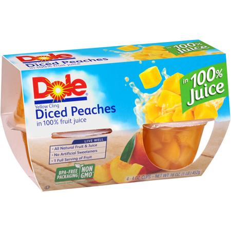 Dole Diced Yellow Cling Peaches In Light Syrup, 4 pk