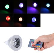 YLSHRF Dimmable RGB LED Light,MR16 3W RGB LED Light Color Changing Lamp Bulb 12V-24V With Remote Control for Home Bar