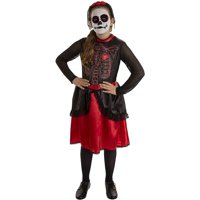 Day of the Dead Dress & Headpiece for Kids Girls Costume Deals