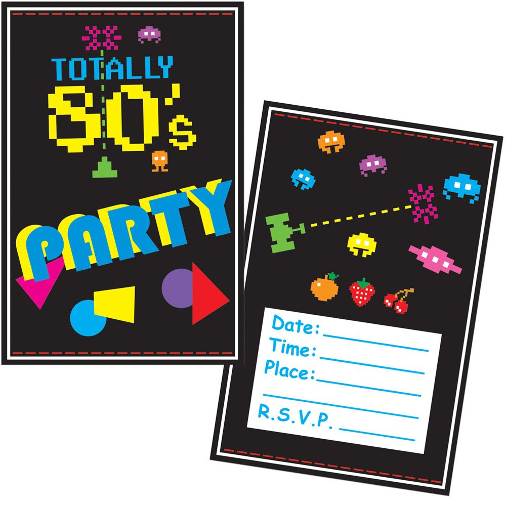 80'S Invitations (8 Pack) - Party Supplies