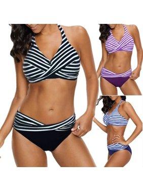 2288c89bbd Product Image Women's Fashion Beach Swimwear Swimsuit Striped Ladies  Swimsuit Suit