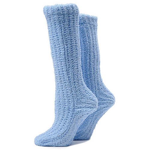 Lt Blue Plush Slumber Sock W/grips
