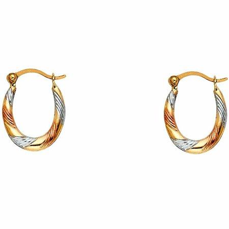 14k Tri Color Twist and Line Pattern Oval Hoop Earrings (12 mm x 15mm)