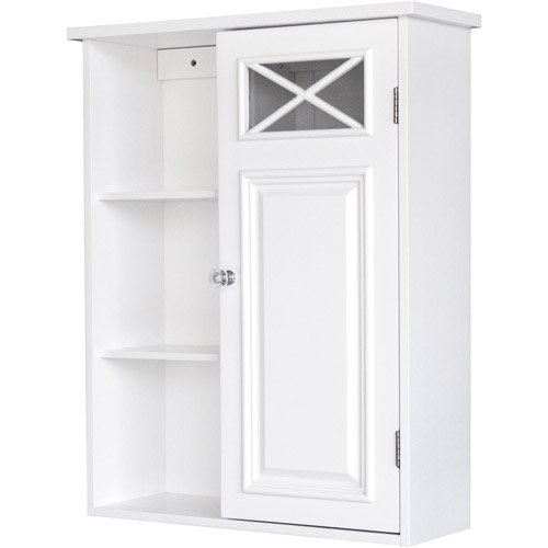 prairie wall cabinet with side shelves and door white walmartcom - Walmart Bathroom Storage