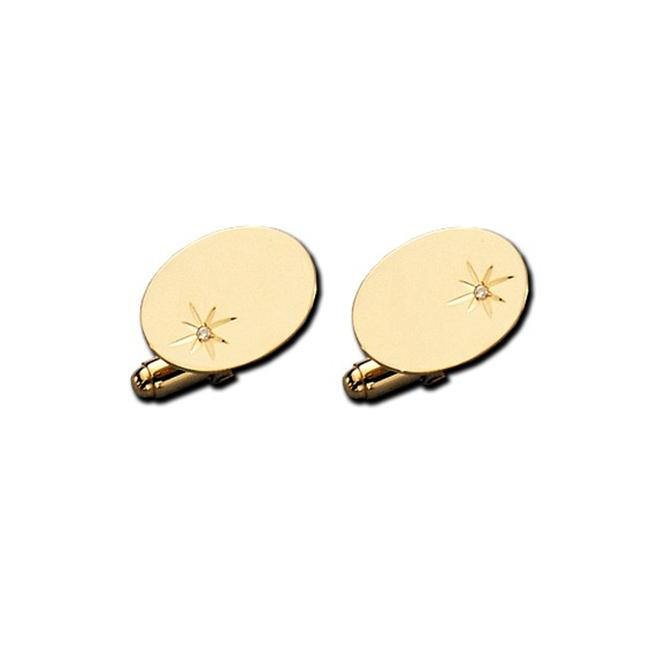Legere Kcl-936-D 14Kt Polished Gold Cuff Link - Oval Links With 2 Point Total Weight Diamonds