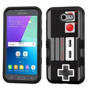 Hybrid Case for Samsung Galaxy J3 Luna Pro 4G LTE / J3 Eclipse, OneToughShield ® 3-Layer Phone Case (Black/Black) - Game Controller