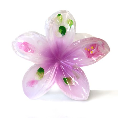 (Hawaii Luau Party Dance Performance Plastic Hand Painted Pastel Plumeria Flower hair claw clips in Large White Purple 2 Pack)