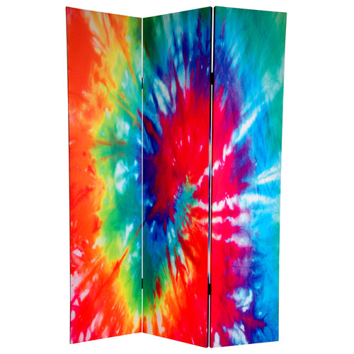 Oriental Furniture 70.88'' x 47.25'' Tie Dye 3 Panel Room Divider
