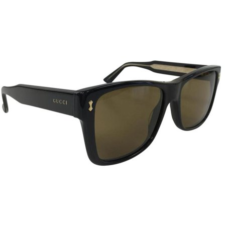 Gucci GG 0052S 001 Black Brown Gold Plastic Sunglasses 55mm