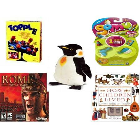 Children's Gift Bundle [5 Piece] -  Topple  by Pressman  - Gomu Eraserland Series 1 Erasers 3 Pack  - Melissa & Doug Penguin Large  24