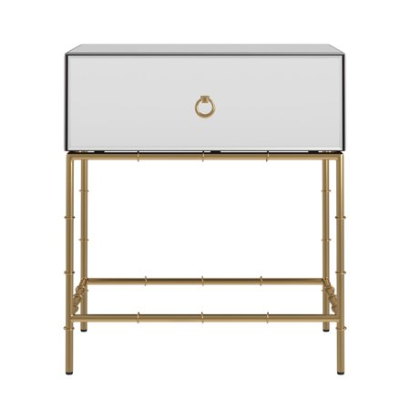 Weston Home Carolyn Mirrored Accent Gold Finish Base End Table