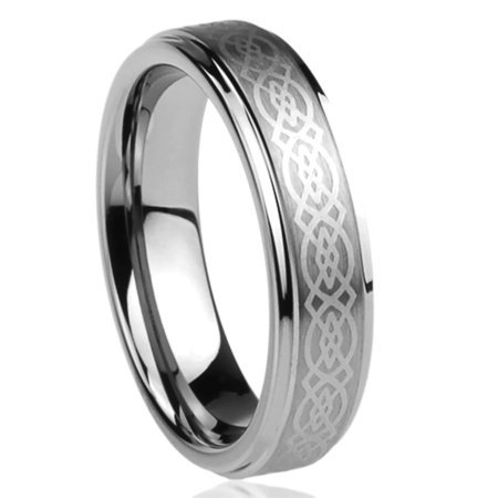 Men Women 6MM Titanium Comfort Fit Wedding Band Ring Laser Etched Celtic Knot Design Ring (6 to