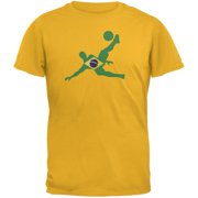 World Cup Brazil Soccer Kick Flag Silhouette Gold Adult T-Shirt - 2X-Large