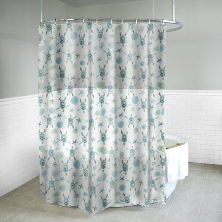 Splash Home Sea Turtles PEVA Shower Curtain 72 X 70 Mint