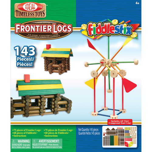 Ideal Frontier Logs and Fiddlestix Box 143-Piece Classic Wood Building Set