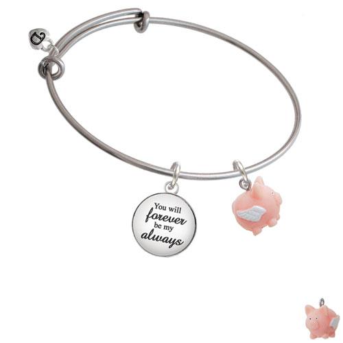 Resin Flying Pink Pig Forever My Always Bangle Bracelet
