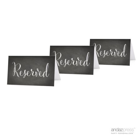 Reserved Vintage Chalkboard Table Tent Place Cards, 20-Pack